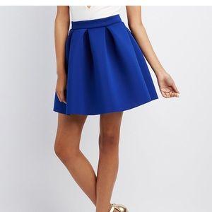 Cobalt Pleated Scuba Skater Skirt